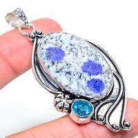"K2 Azurite Blue Topaz Gemstone Handmade 925 Silver Jewelry Pendant 2.84"" VK-3356"