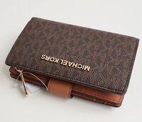 Michael Kors portemonnaie geldbörse jet set travel bifold zip wallet braun neu