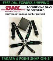 """6 Point Snap-On 3"""" TAKATA Black Racing Seat Belt Harness Universal With Camlock"""