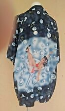 KENNINGTON BUTTON DOWN SHIRT PIN UP GIRL MARTINI GLASS BUBBLES OLIVES SIZE XL