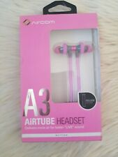 Aircom A3 Active Airtube Stereo Earphones w/ Mic - gray and pink new
