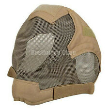 Airsoft Tactical Paintball Wire Mesh Full Face Protection Mask Breathable DE
