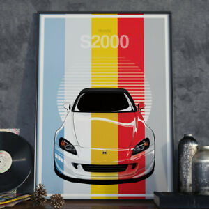 Honda S2000 AP2 JDM Art Poster 17x24 inch size (Choose your colour)
