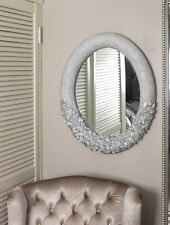 Modern Silver Wall Mirror Oval Embossed Rose Flower Detail Bedroom Living Room