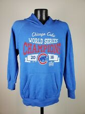 Women's Majestic Threads Chicago Cubs 2016 World Series Champions Blue Hoodie M