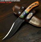 Louis Martin Hand Forged D2 Steel Hard Wood Hammered Art Hunting Skinner Knife
