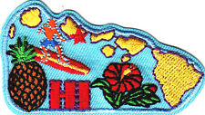 """HI""-  HAWAII STATE SHAPE- Iron On Patch/Tropical, Pineapple, Hibiscus, Surfing"