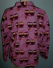 PJ Salvage Night Owls Violet Sz M Pajama Top Only Cotton Flannel