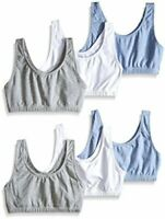 Fruit of the Loom Women's 3 PR Built-Up Sportsbra, Grey, Blue, Size 38 RHYr