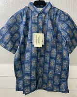 Vintage REYN SPOONER Men XL Shirt Casual FISH Aloha Hawaiian DIETRICH VAREZ BLUE