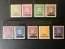 Norway 1929 SC#136-144 MNH OG - One stamp 40 ore lightly hinged
