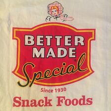 white BETTER MADE SNACK FOODS t shirt--LOGO--potato chips DETROIT--NEW--(XL)