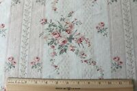 "Pretty French Antique Home Printed Linen Fabric~Roses & Ribbons~L-36"" X W-32"""