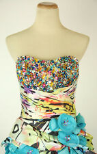 New Authentic Jovani 7450  High-Low Blue/Print Bridal Prom Women Evening Gown 2