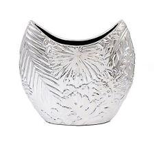 Large Silver Leaf Style Art Vase