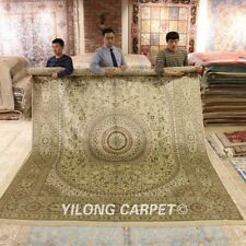 Yilong 9'x12' Oversize Hand-knotted Carpet Vintage Hand made Silk Area Rug 249A