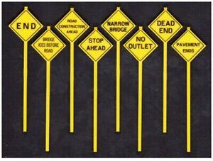 O Scale Written Warning Signs (8) Model Scenery - Tichy Train Group #2077