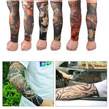 NEW 6x Men Temporary Fake Tattoo Slip On Stretch Seamless Arm Sleeves Stocking