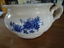 BUFFALO POTTERY CHAMBER POT SEMI-VITREOUS BLUE CRYSANTHEMUM EARLY1900'S