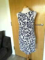 Ladies WAREHOUSE Dress Size 10 Blue White Tunic Smart Party Evening Wedding