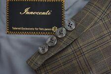 Tom James Innocenti BESPOKE Brown Blue Gold Plaid Wool Sport Coat Jacket Sz 48L
