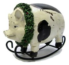 """New Holiday 7 1//2/"""" x 5 1//2/""""  Sitting Piggy Piglet Pig With Santa Hat Christmas"""