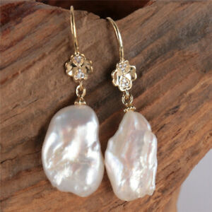 12-15MM White baroque pearls Earring 18KGP Dangle Holiday gifts Women AAA