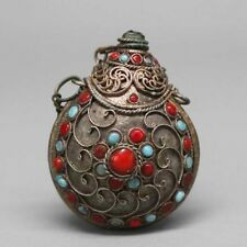 Nepal Silver Snuff Bottle Inlaid Turquoise & Coral Bead USA SELLER