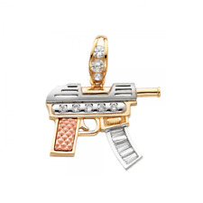 14K Solid Yellow White Rose Gold CZ Machine Gun Pendant - Rifle Necklace Charm