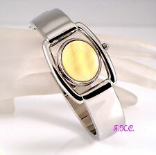 Vintage Deco Silver Yellow Honey CALCITE Fob Flip Spinner Ladies Bangle Watch