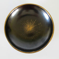 Marzi & Remy West German Fruit Bowl Charcoal Lustre & Gilt Starburst, c.1950s