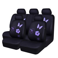 CAR PASS Car Seat Cover Purple Color Full Seat Mesh Beatiful Butterfly Universal