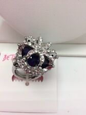 $65 BETSEY JOHNSON Crystal and Faceted Stone Crown Ring B-138