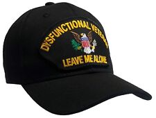 DYSFUNCTIONAL VETERAN Hat Black Ball Cap 100% Cotton Structured 'THE ORIGINAL!'