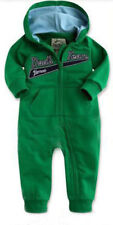 Baby Boy One Piece Green Zip Romper Fleece Hood Sport Tracksuit Sleepsuit 0- 6 m