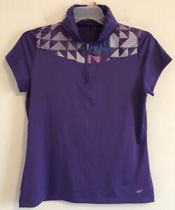 Nike Golf Top Women Sz L Purple Hooded Short Sleeve