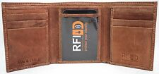 RFID Security Lined Vintage Genuine Leather Trifold wallet style 12060.