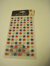 Scrapbooking Stickers Sticko Crafts Shimmery Stars Repeats Red White Blue July 4
