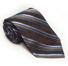 "Michael Kors Men Silk Brown Tie Stripes 3.5"" wide 58"" long"