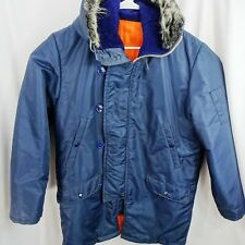 Vintage 70s Winter Coat Mens M Blue Snorkel Fur Line Hood Quilted Parka Jacket