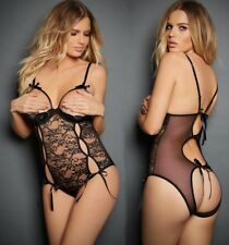 Womens Black Bows Sexy Clothing Teddy Babydoll Open bra Crotchless Lace Lingerie