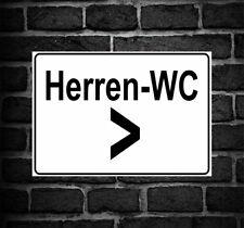 Emaille Straßenschild Herren WC 30x8 cm weißes Metallschild Deko tin sign