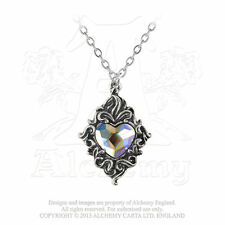 Alchemy Gothic Vintage Necklace - Crystal Heart Ladies Pewter Fashion Pendant