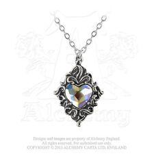 Alchemy Gothic Vintage Collar con Colgante - Corazón de Cristal Peltre Mujer