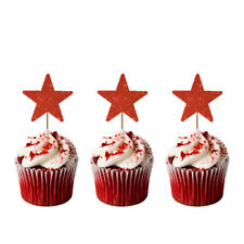 Christmas Star Cupcake Toppers - Pack of 10 - Glittery Red Xmas Star Cake Topper