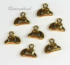 Cowboy Hat Charms, TierraCast Charms, Gold Plated Pewter, 4 Pieces, 8326