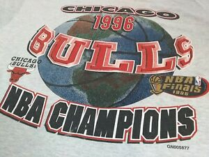 VTG 90s 1996 Finals Chicago Bulls Champions Champs Double Sided T Shirt X-Large