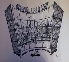 TRUK Kurt Aeberli Schweizer Bank Basel Original Cartoon Karikatur RARITÄT