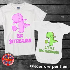 Big & Little Brother & Sister Dinosaur Kids T-shirt Babygrow Boys Girls Gift Set
