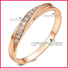 9CT ROSE GOLD GF LADIES SOLID 3MM WEDDING ETERNITY DRESS CRYSTAL BAND RING GIFT